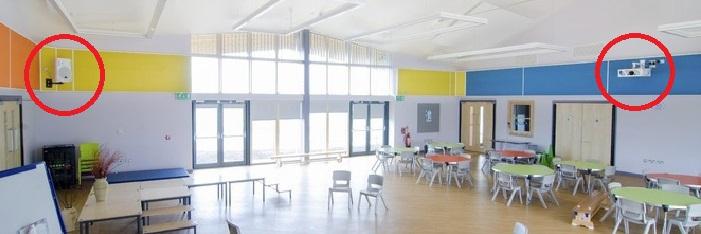 звукового оборудования для детского сада: акустические системы с креплением для подвеса и пректор